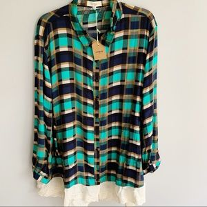 Umgee Plaid Button Up Tunic